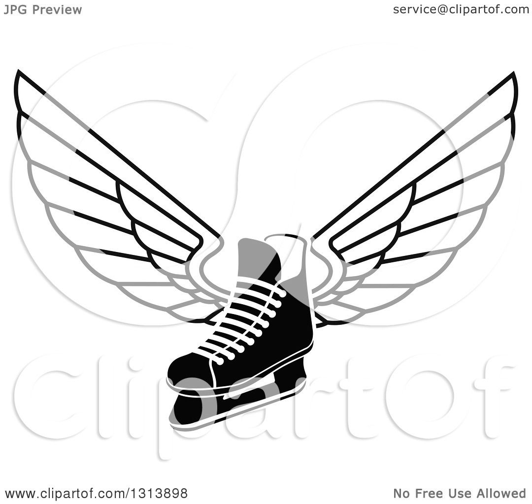 Clipart Of A Black And White Winged Ice Hockey Skate
