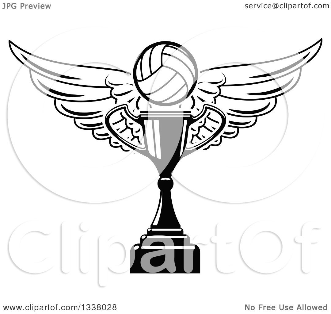 Clipart Of A Black And White Winged Volleyball Over A