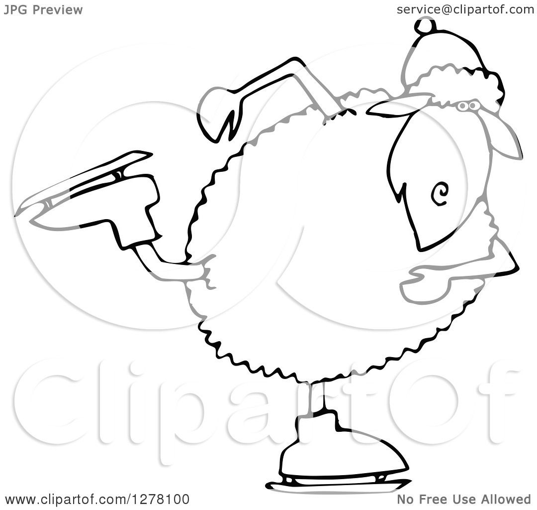 Clipart Of A Black And White Winter Sheep Ice Skating