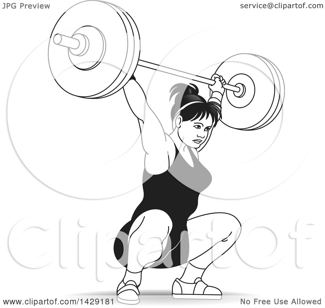 Clipart Of A Black And White Woman Doing Barbell Squats