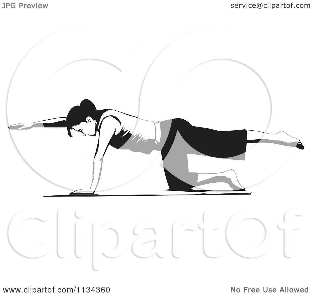 Clipart Of A Black And White Woman Doing Pilates Bird Dog