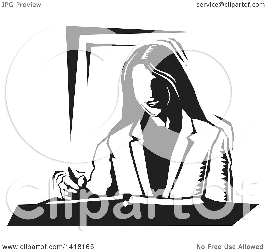 Clipart Of A Black And White Woodcut Business Woman