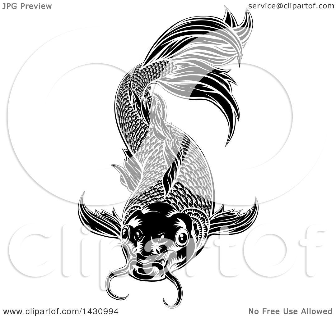 Clipart Of A Black And White Woodcut Carp Koi Fish