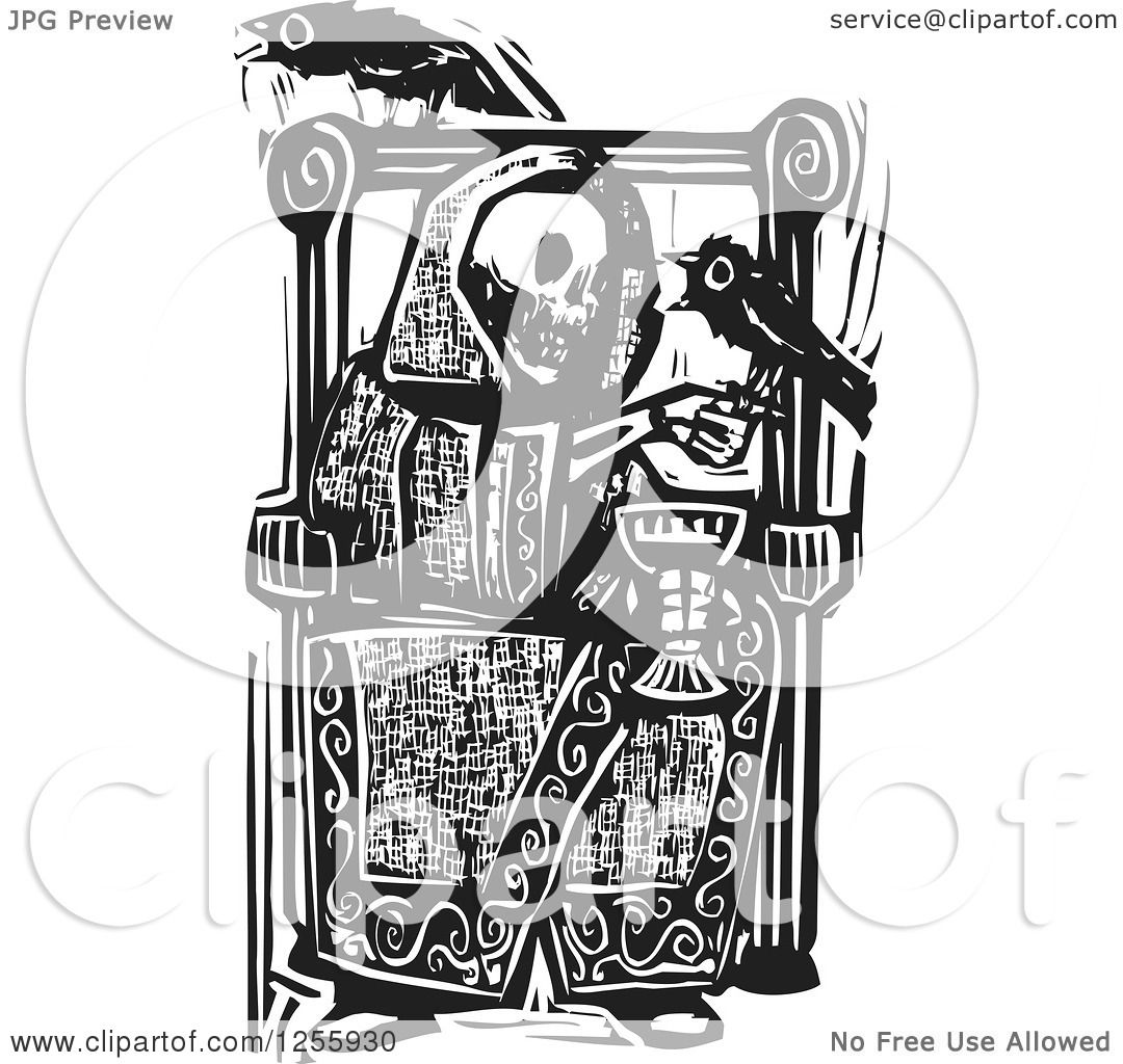 Clipart Of A Black And White Woodcut Skeleton