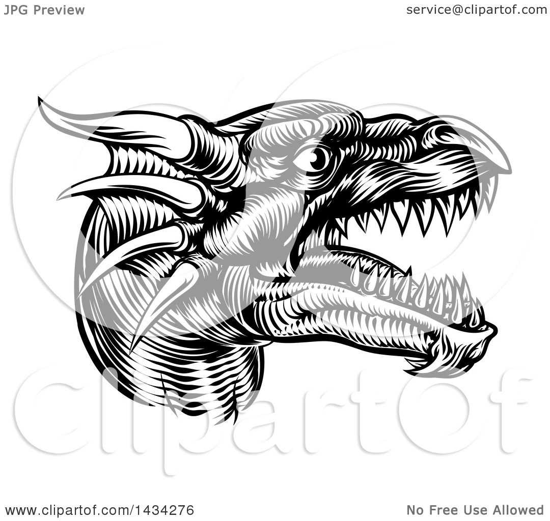 Clipart Of A Black And White Woodcut Dragon Head In