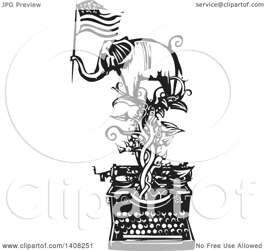 Clipart Of A Black And White Woodcut Elephant Holding An American Flag On A Vine Over A