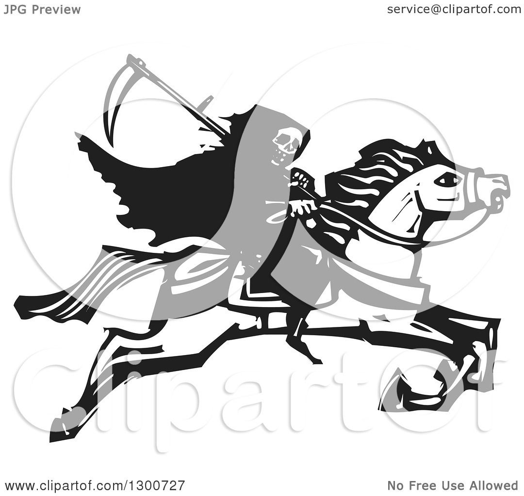 Clipart Of A Black And White Woodcut Grim Reaper Riding