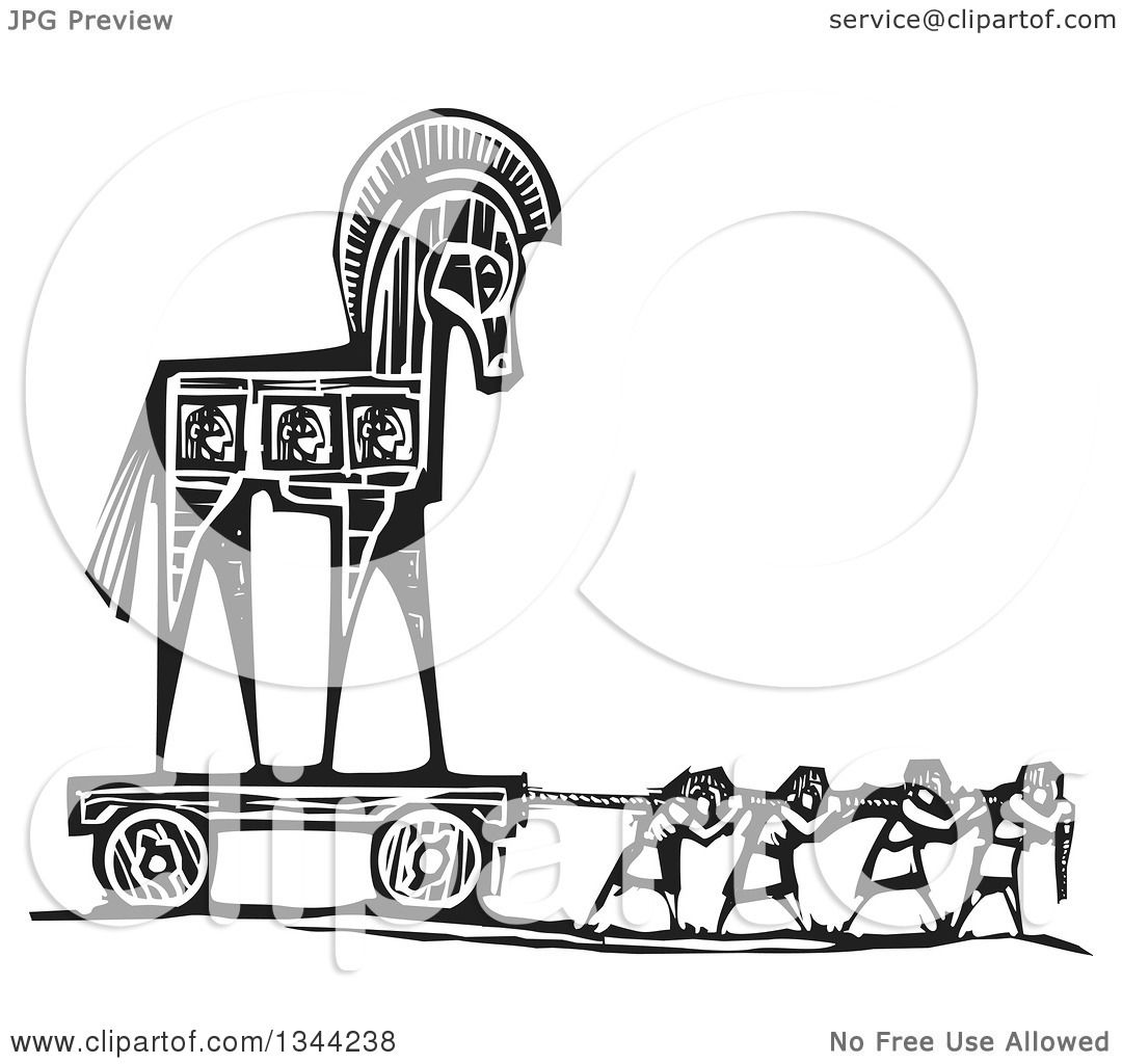 Clipart Of A Black And White Woodcut Of People Pulling The