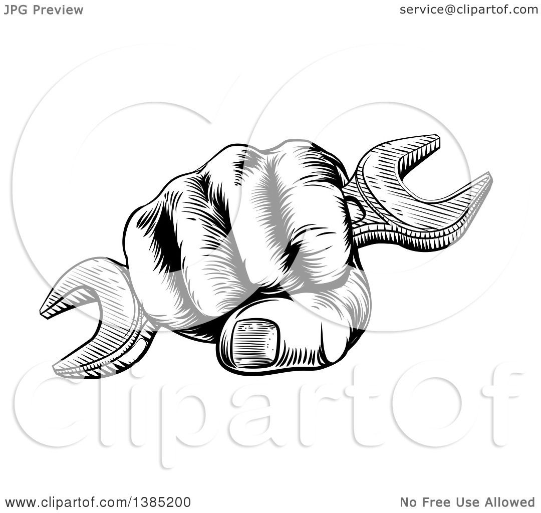 Clipart Of A Black And White Woodcut Or Engraved Fisted