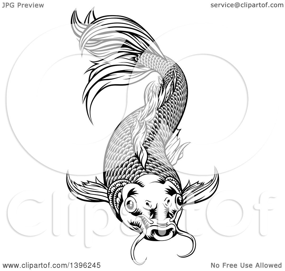 Clipart Of A Black And White Woodcut Oriental Styled Koi