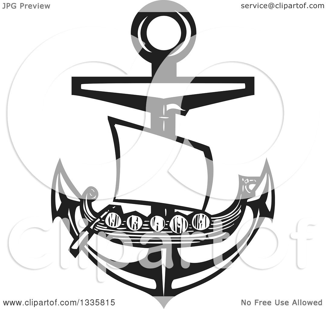 Clipart Of A Black And White Woodcut Viking Ship Over A