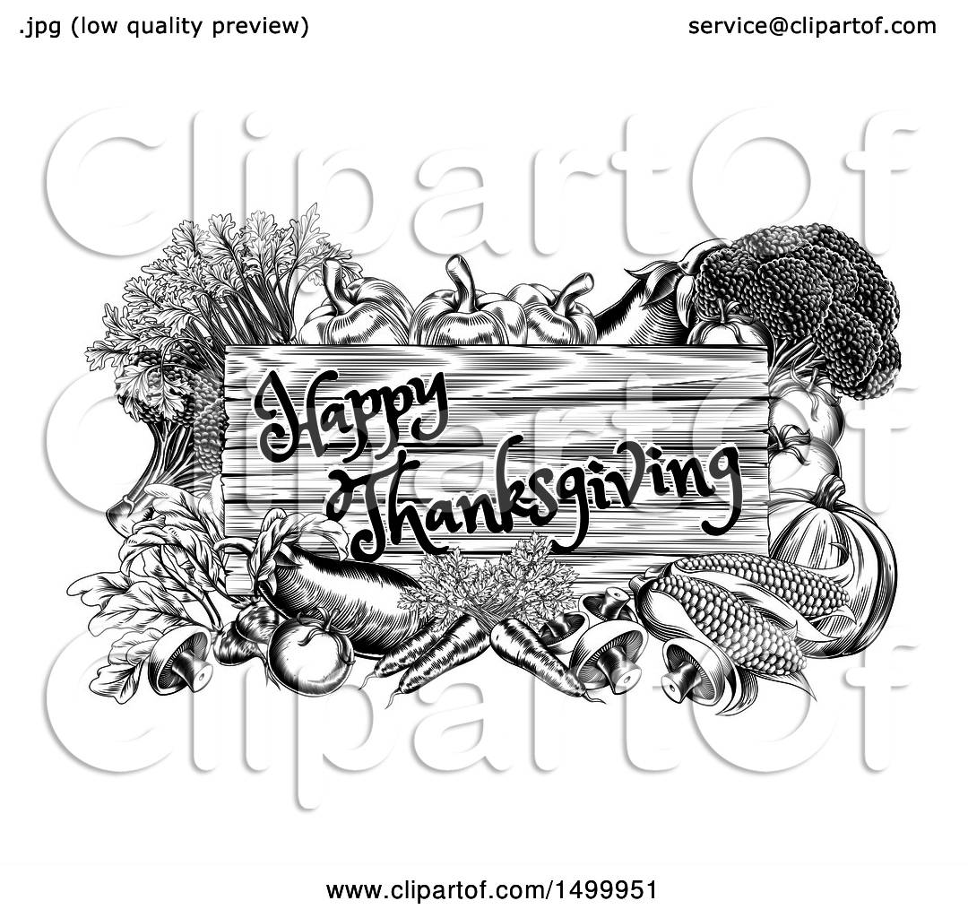 Clipart Of A Black And White Wooden Happy Thanksgiving