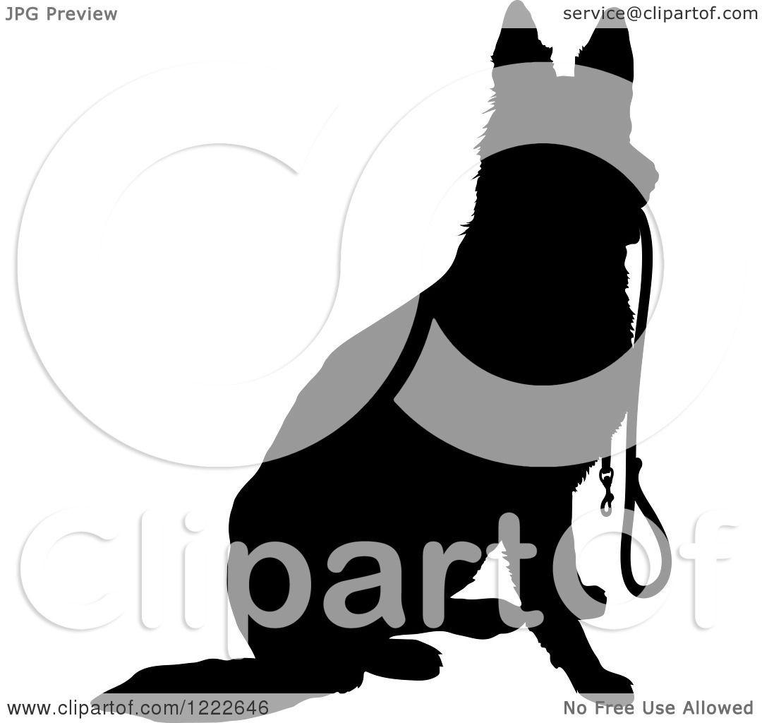 Black White Clip Art German Shepherd