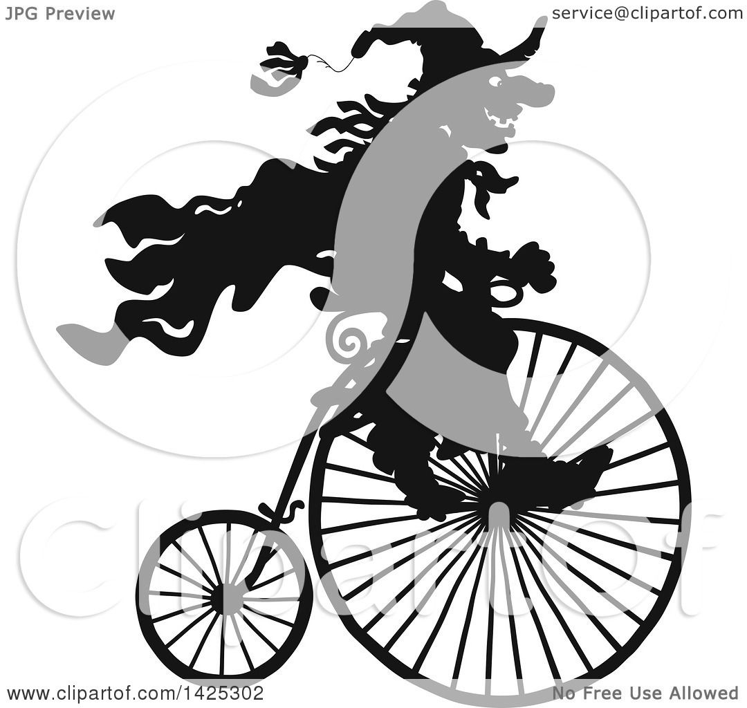 Clipart Of A Black Silhouetted Halloween Witch Riding A