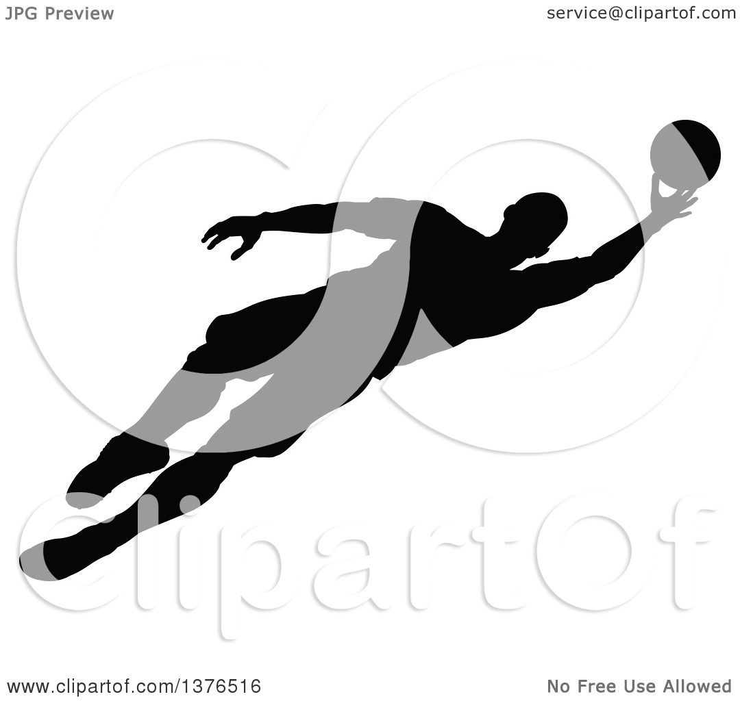 Clipart Of A Black Silhouetted Male Soccer Player Athlete