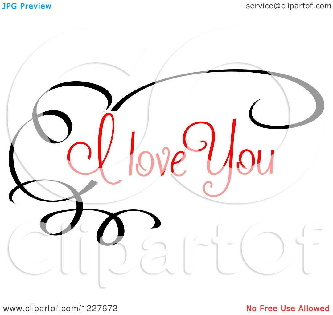 Download Clipart of a Black Swirl and Red I Love You Text - Royalty ...