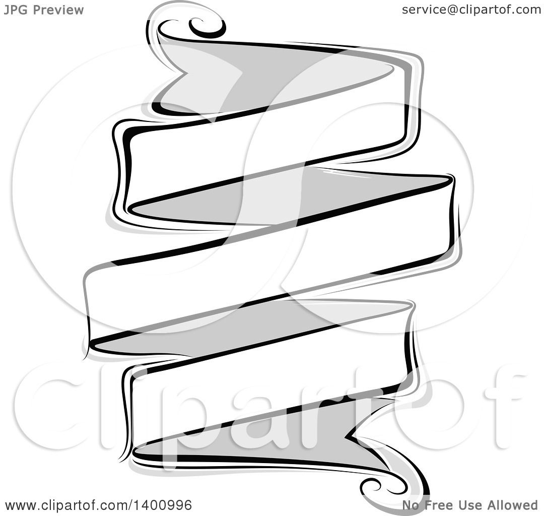 Clipart Of A Blank Grayscale Ribbon Banner Design Element