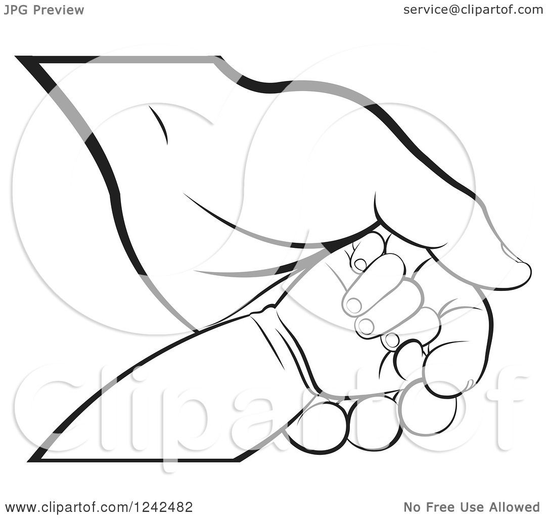 Clipart Of A Blcak And White Baby Hand On A Mother S Or