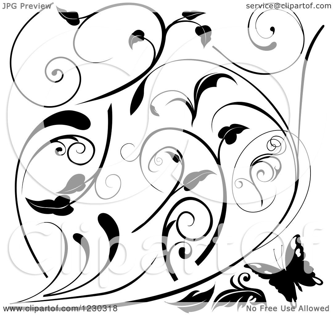 Clipart Of A Butterfly And Black And White Floral Scroll