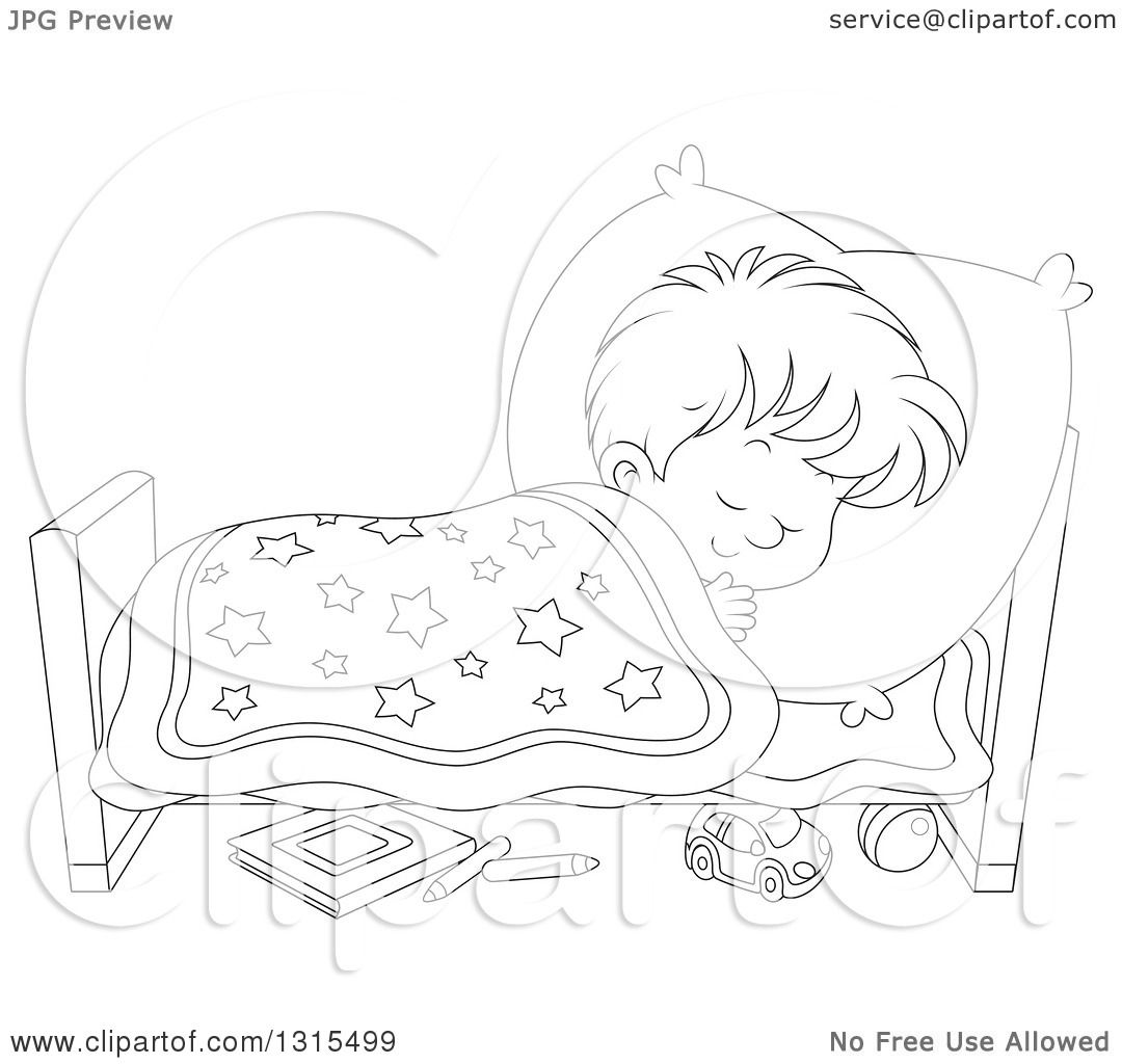 Clipart Of A Cartoon Black And White Boy Sleeping