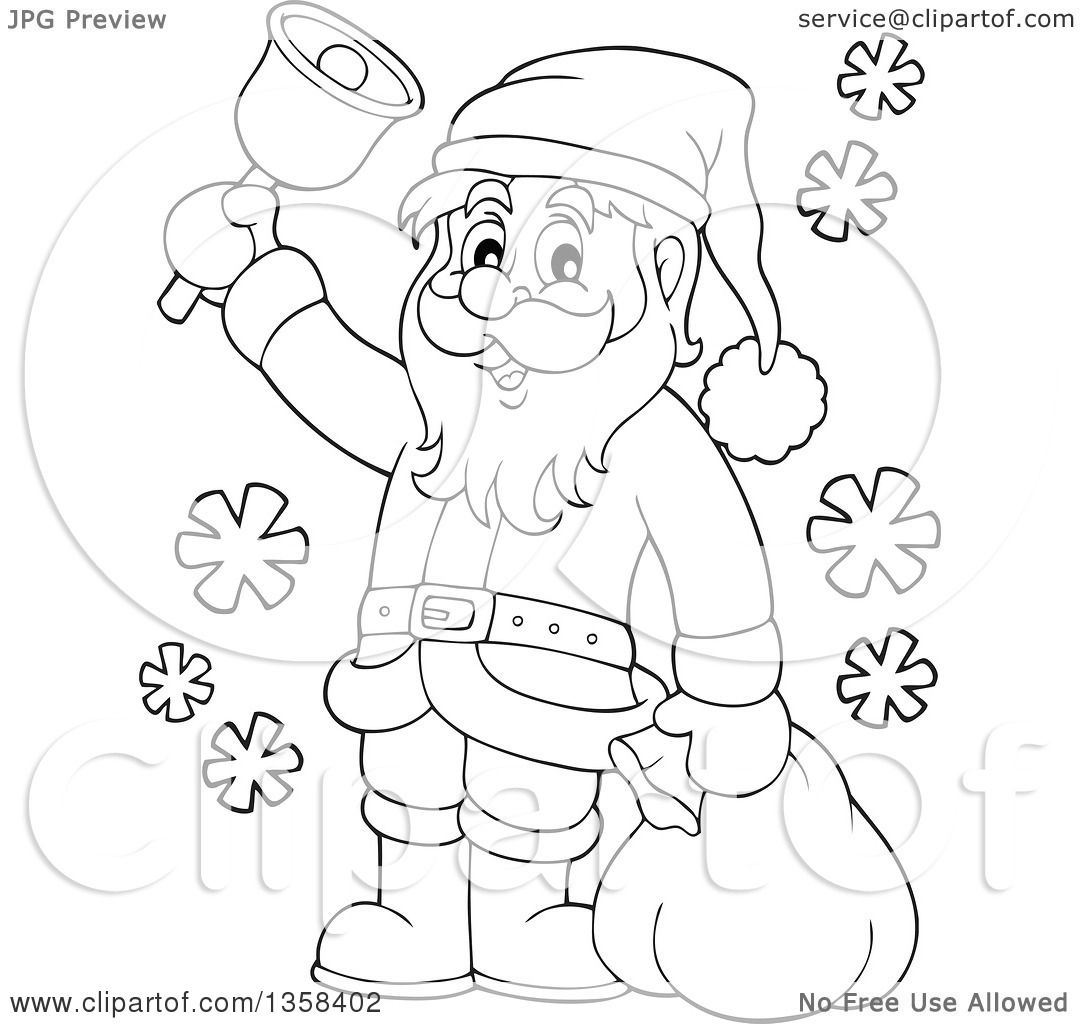 Clipart Of A Cartoon Black And White Christmas Santa Claus