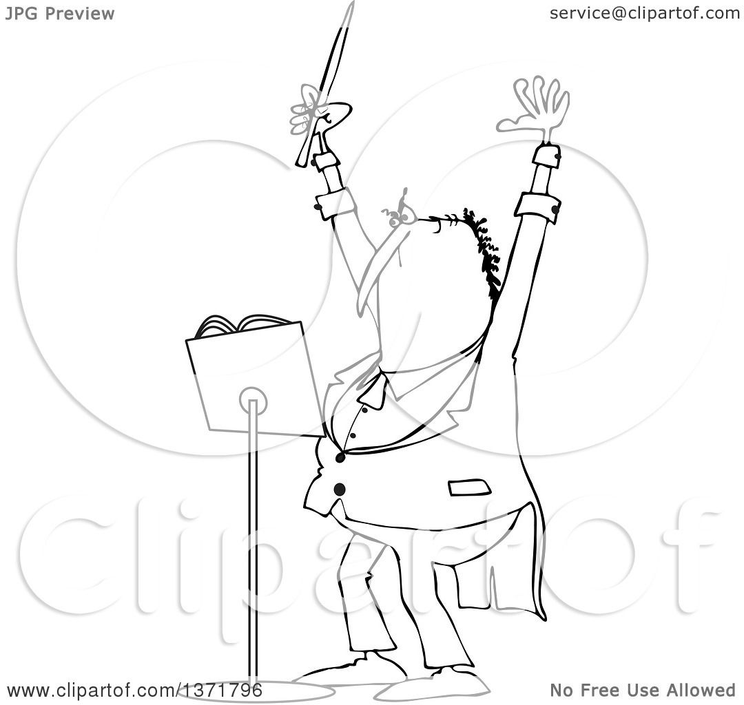 Clipart Of A Cartoon Black And White Chubby Male Music