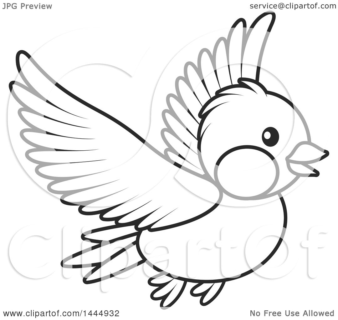 Clipart Of A Cartoon Black And White Flying Bird