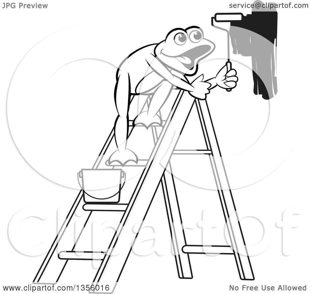 Clipart Of A Cartoon Black And White Frog On A Ladder