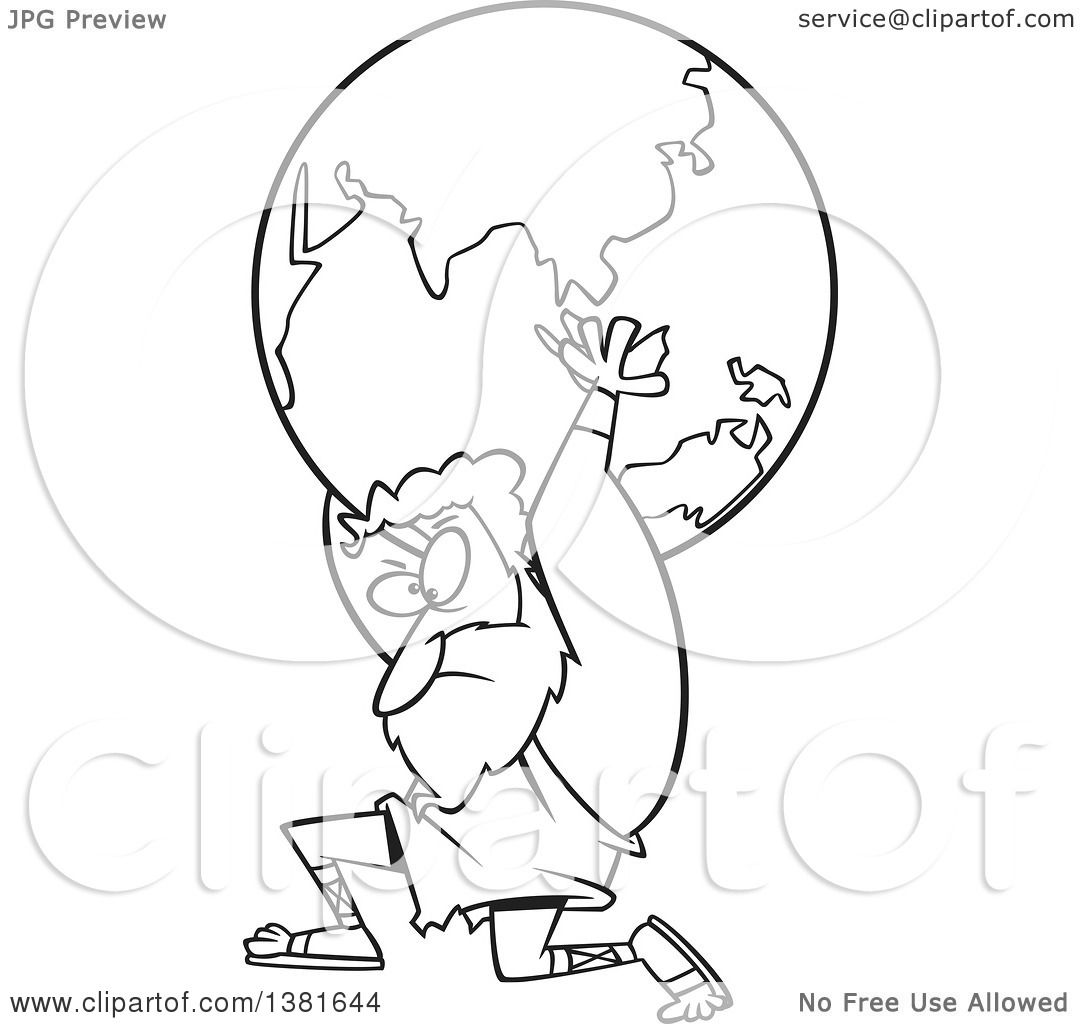 Clipart Of A Cartoon Black And White Greek God Atlas