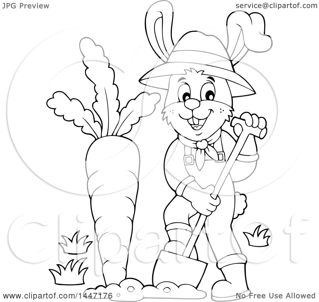 Clipart Of A Cartoon Black And White Happy Gardener Bunny