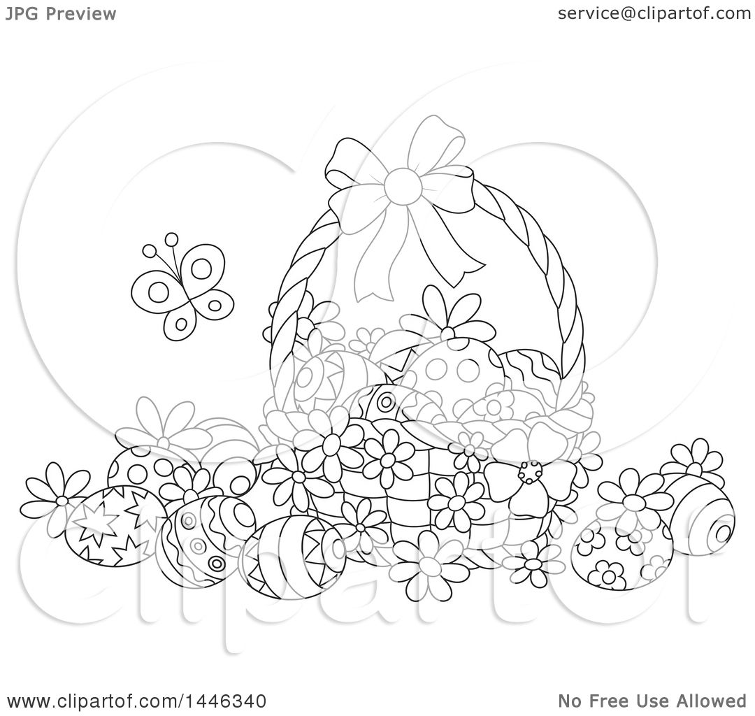 Clipart Of A Cartoon Black And White Lineart Basket With