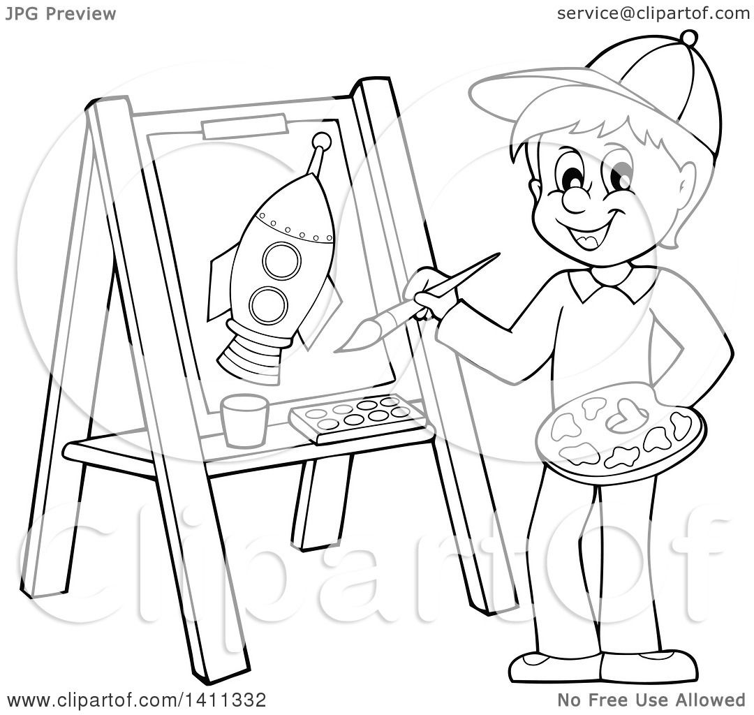 Clipart Of A Cartoon Black And White Lineart Boy Painting