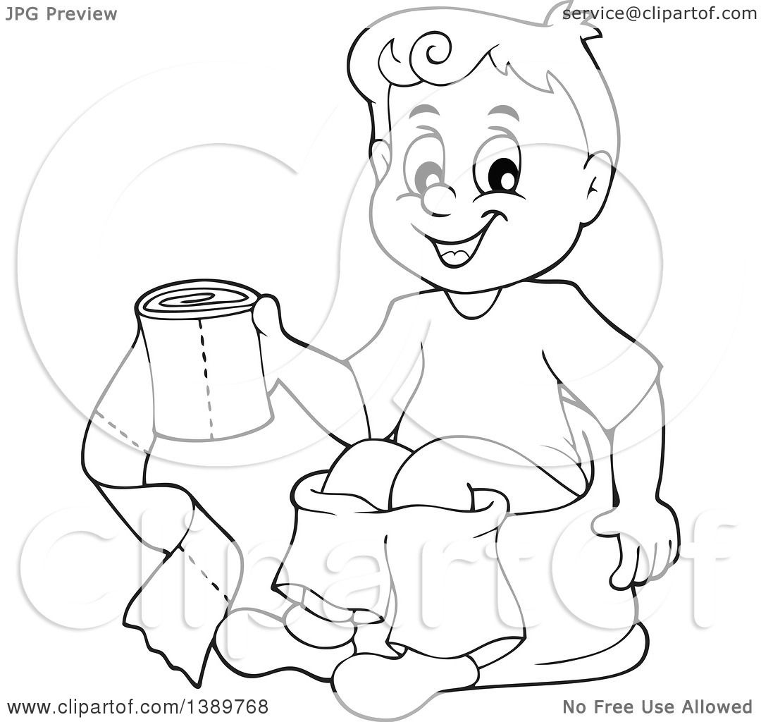 Clipart Of A Cartoon Black And White Lineart Boy Sitting