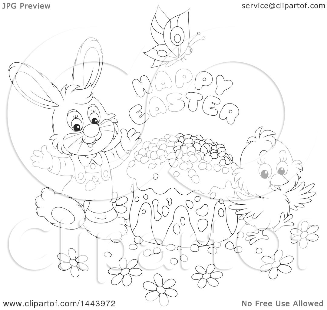Clipart Of A Cartoon Black And White Lineart Bunny Rabbit
