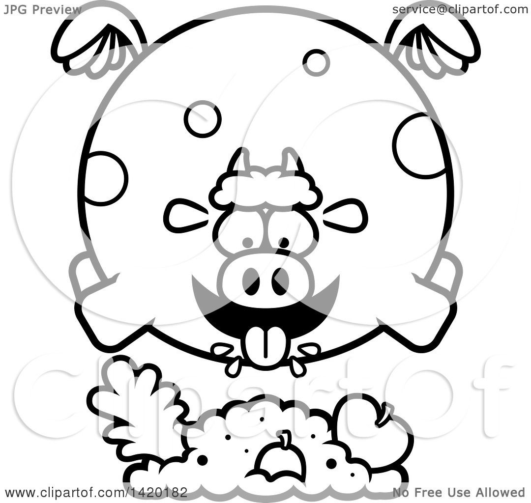 Clipart Of A Cartoon Black And White Lineart Chubby Cow