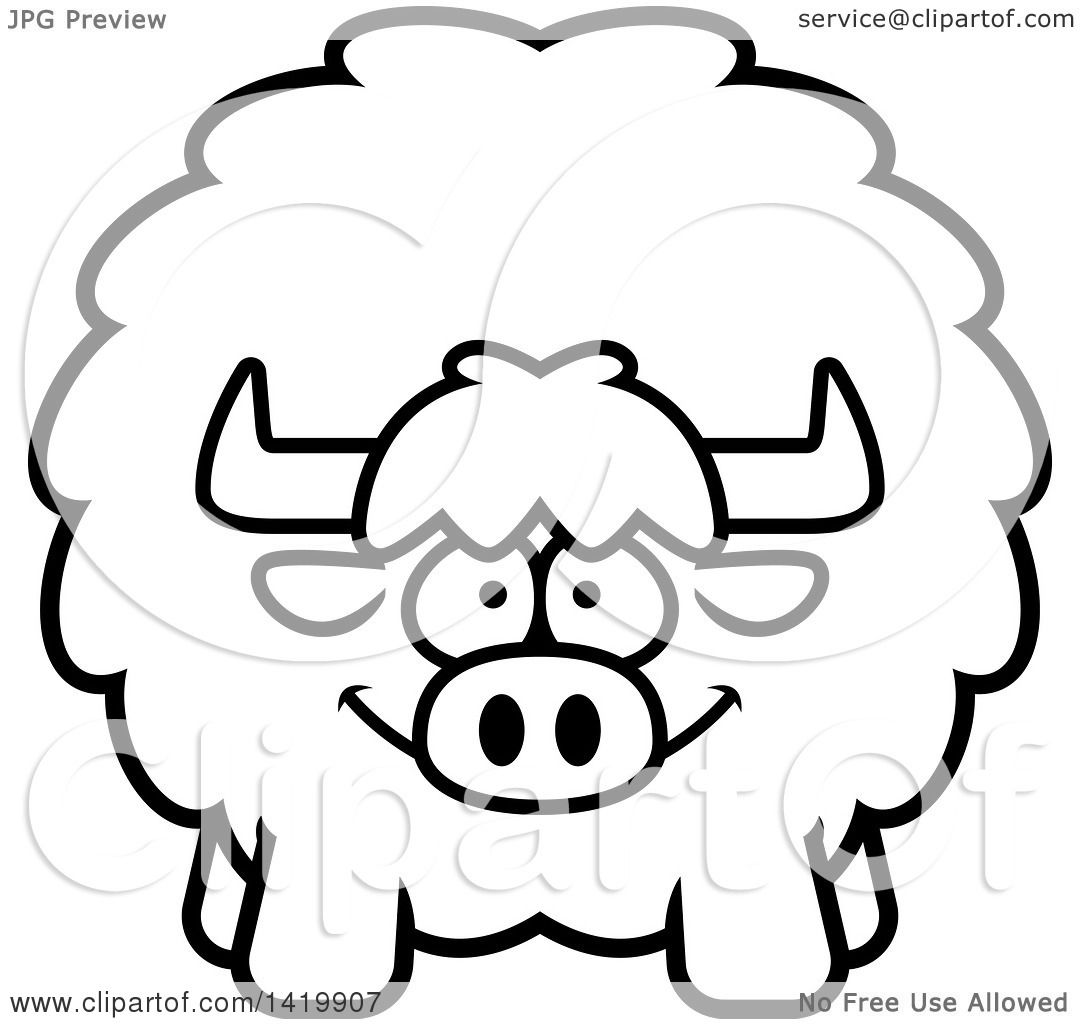 Clipart Of A Cartoon Black And White Lineart Chubby Yak