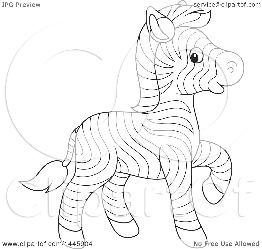 Clipart Of A Cartoon Black And White Lineart Cute Baby Zebra Walking