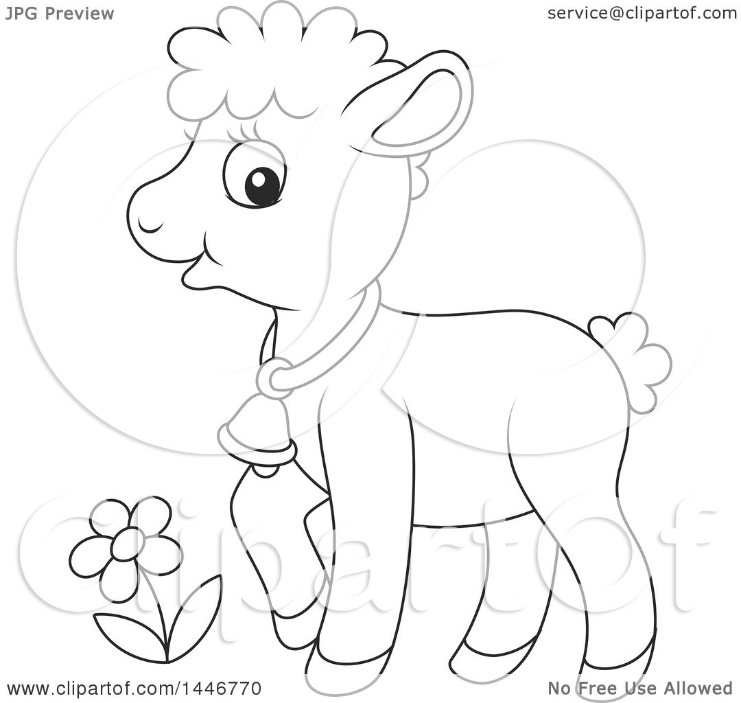 Clipart Of A Cartoon Black And White Lineart Cute Sheared Baby Lamb Sheep
