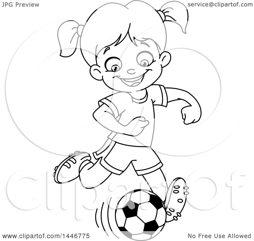Clipart Of A Cartoon Black And White Lineart Girl Playing