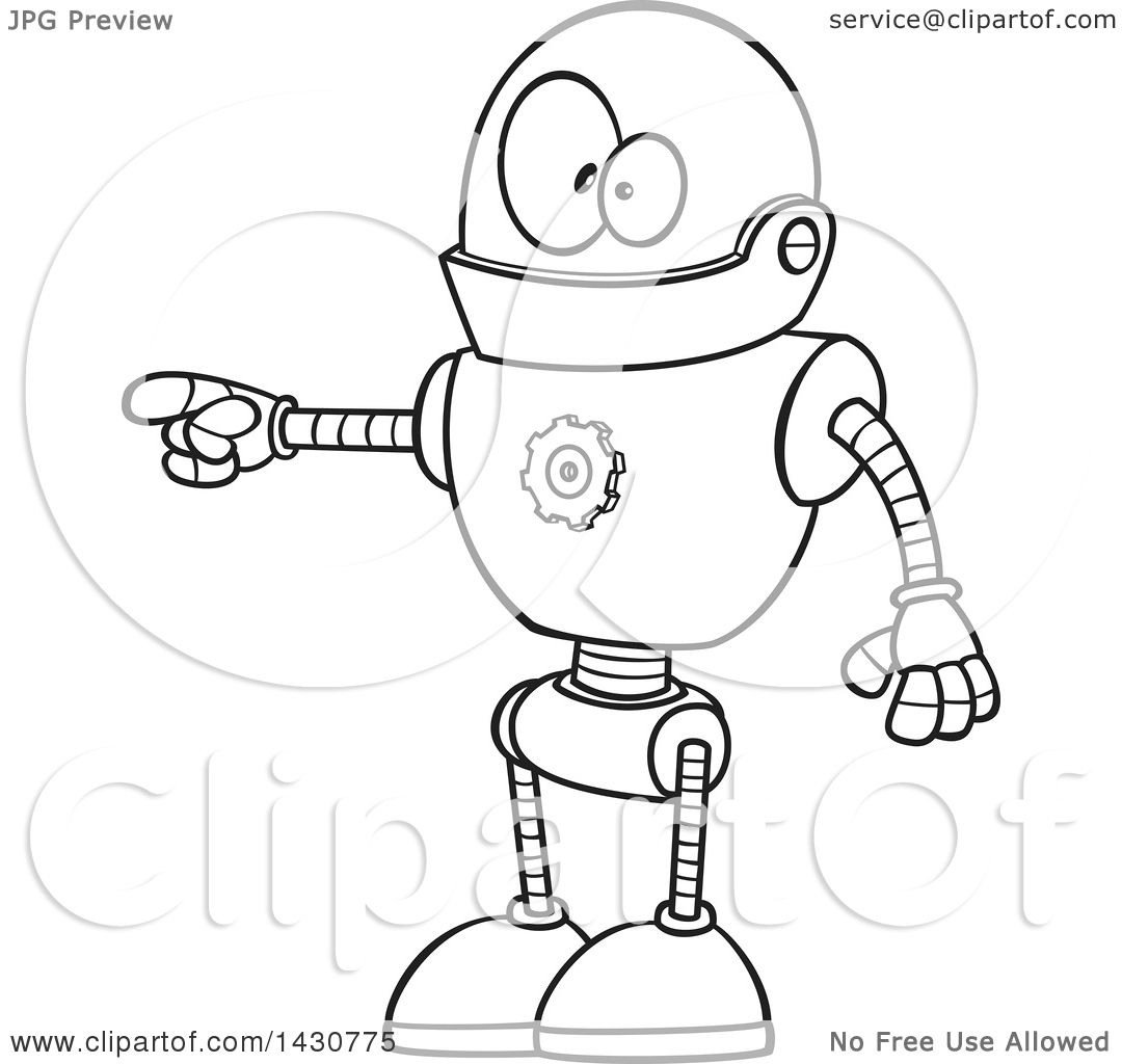 Clipart Of A Cartoon Black And White Lineart Goofy Robot