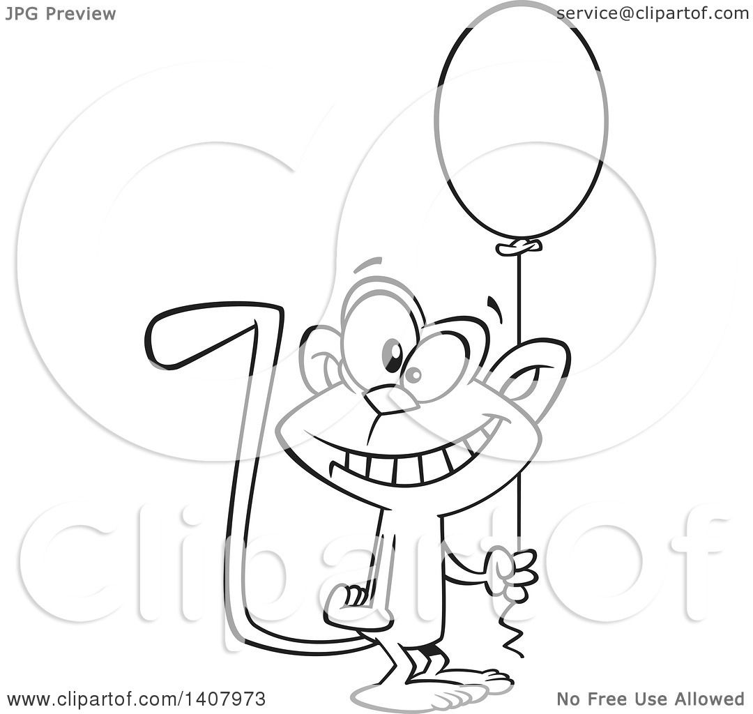 Clipart Of A Cartoon Black And White Lineart Happy