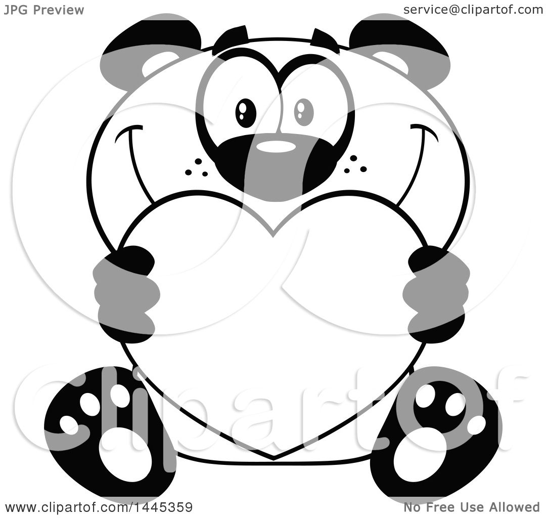Clipart Of A Cartoon Black And White Lineart Happy Panda