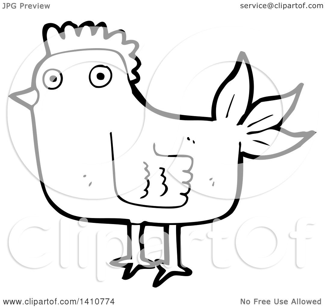 Clipart Of A Cartoon Black And White Lineart Hen Chicken