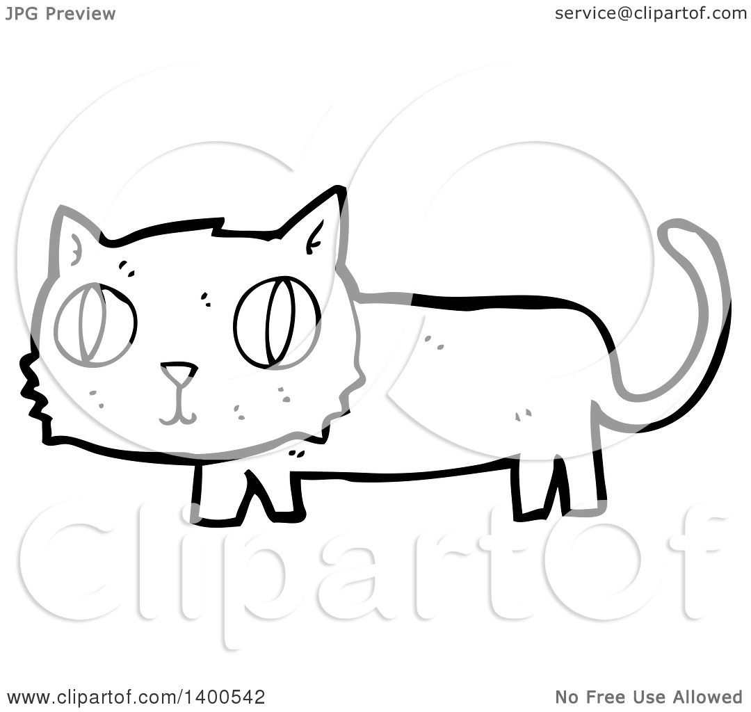 Clipart Of A Cartoon Black And White Lineart Kitty Cat