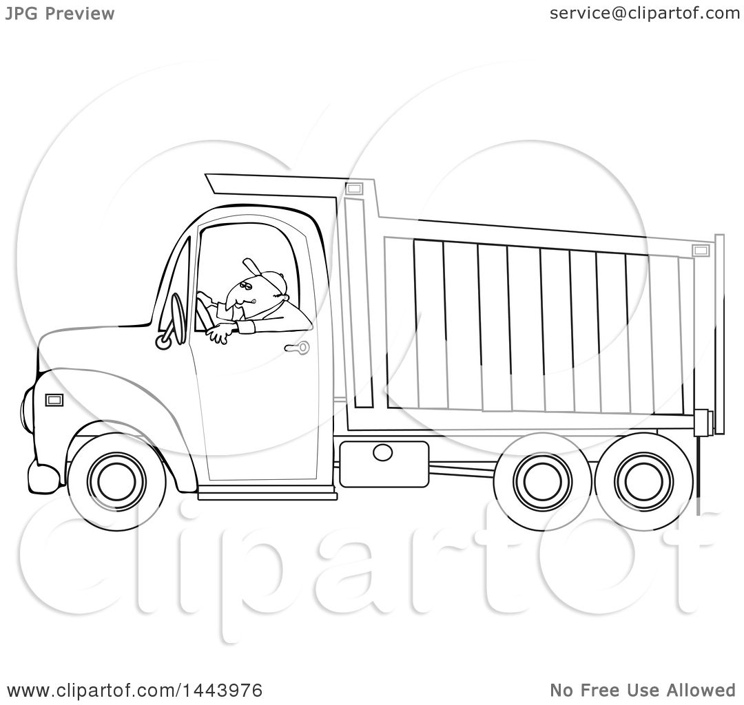 Clipart Of A Cartoon Black And White Lineart Man Driving A