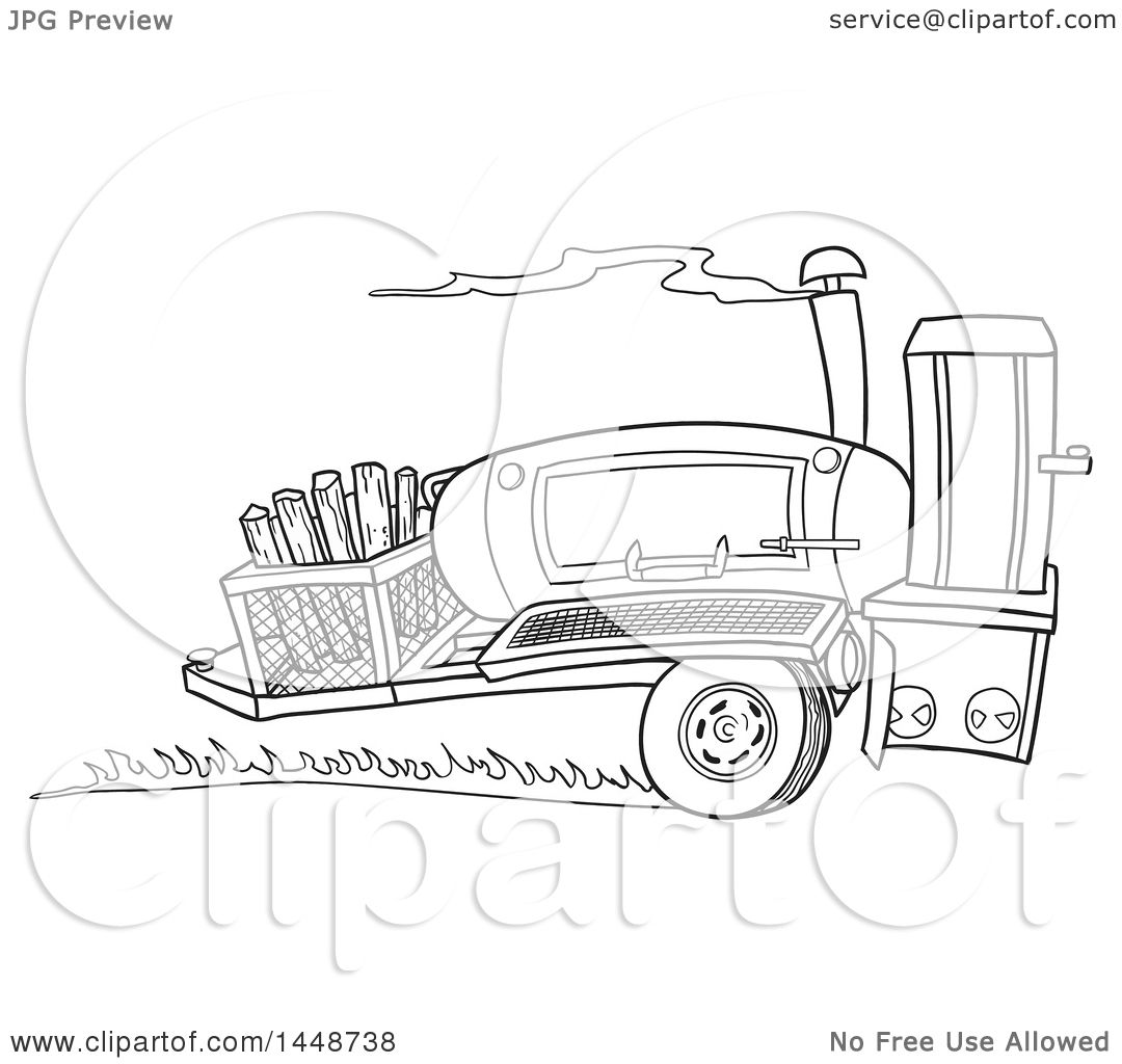Clipart Of A Cartoon Black And White Lineart Racing Lang