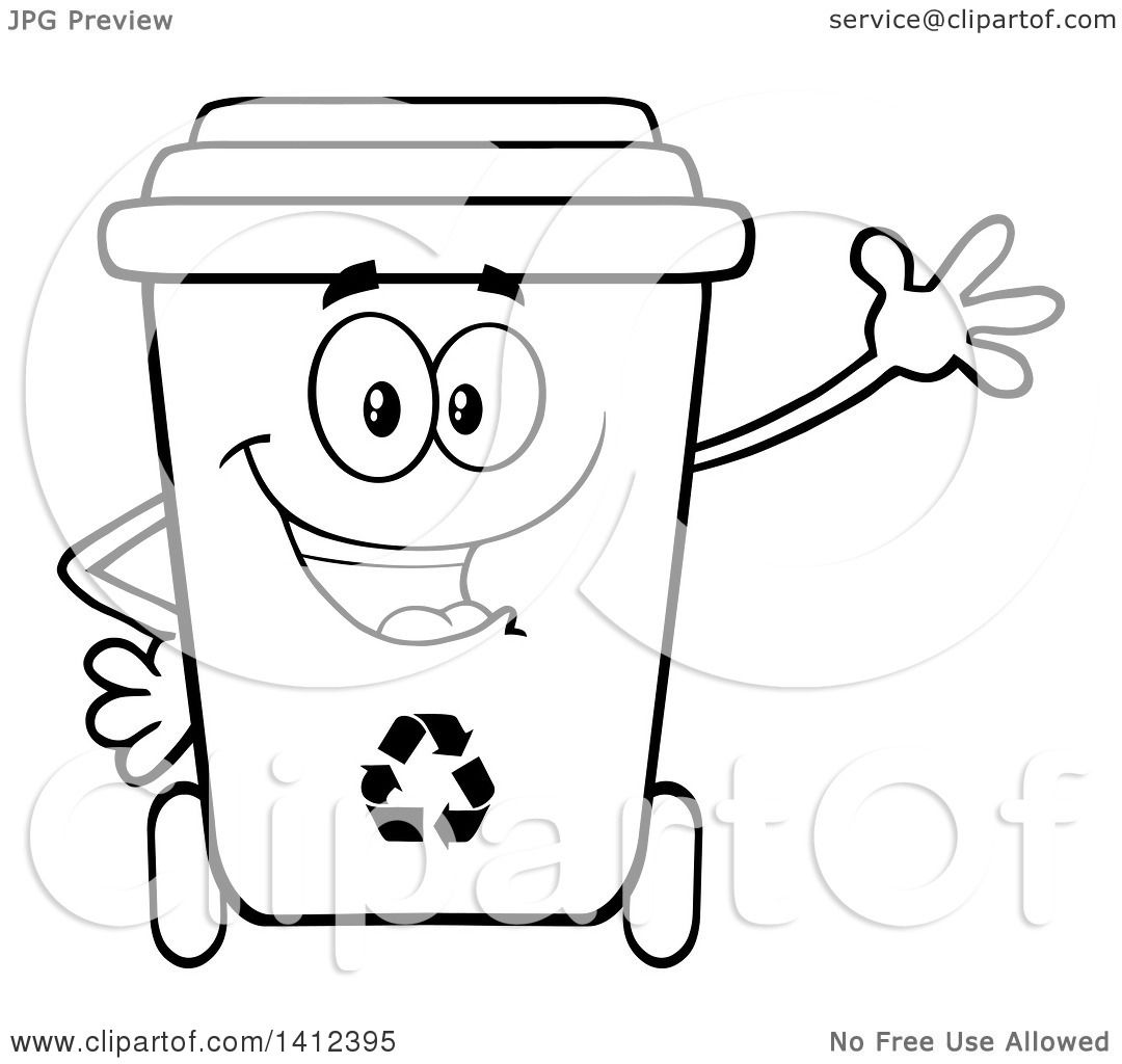 Clipart Of A Cartoon Black And White Lineart Recycle Bin