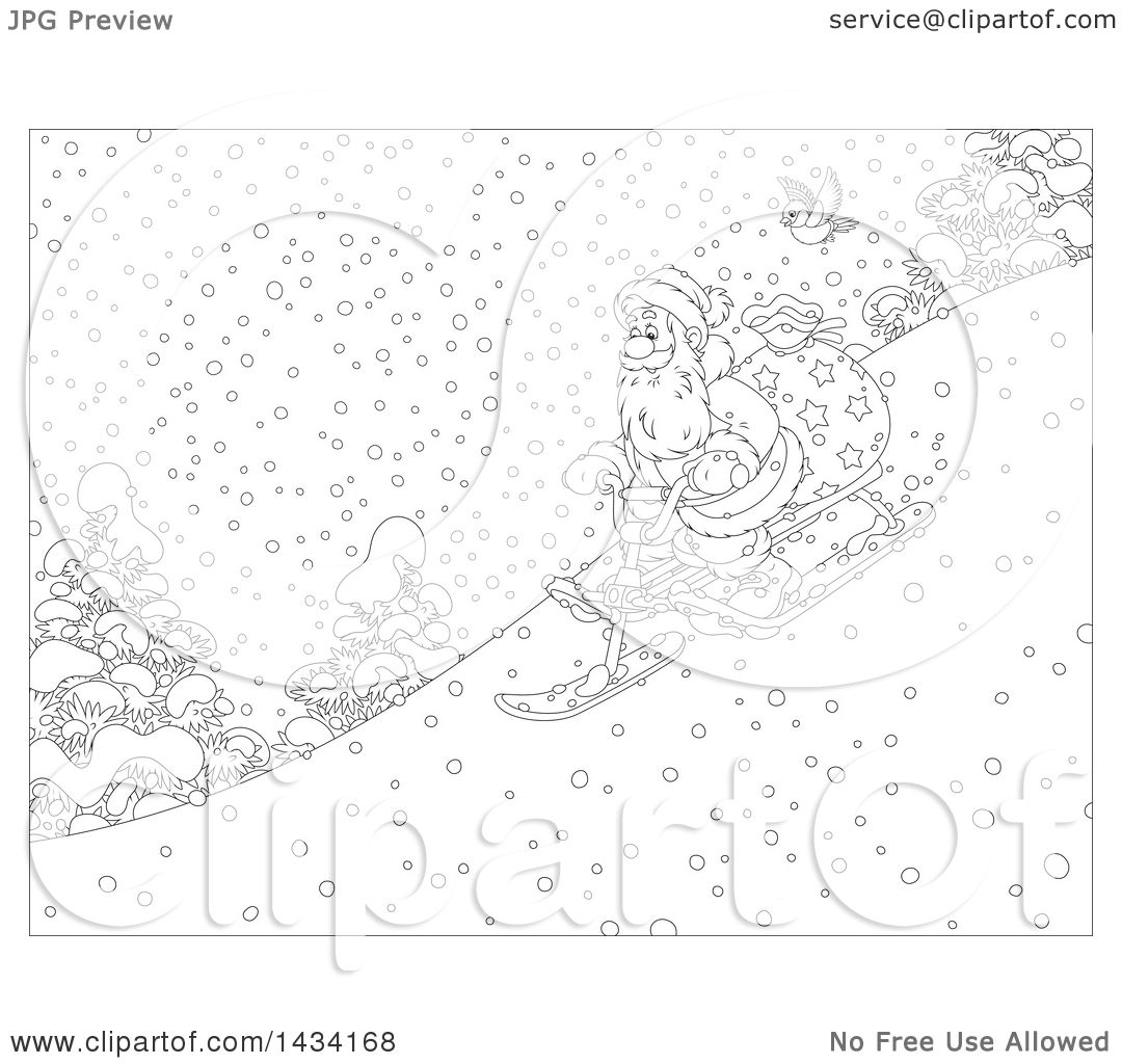 Clipart Of A Cartoon Black And White Lineart Robin Bird