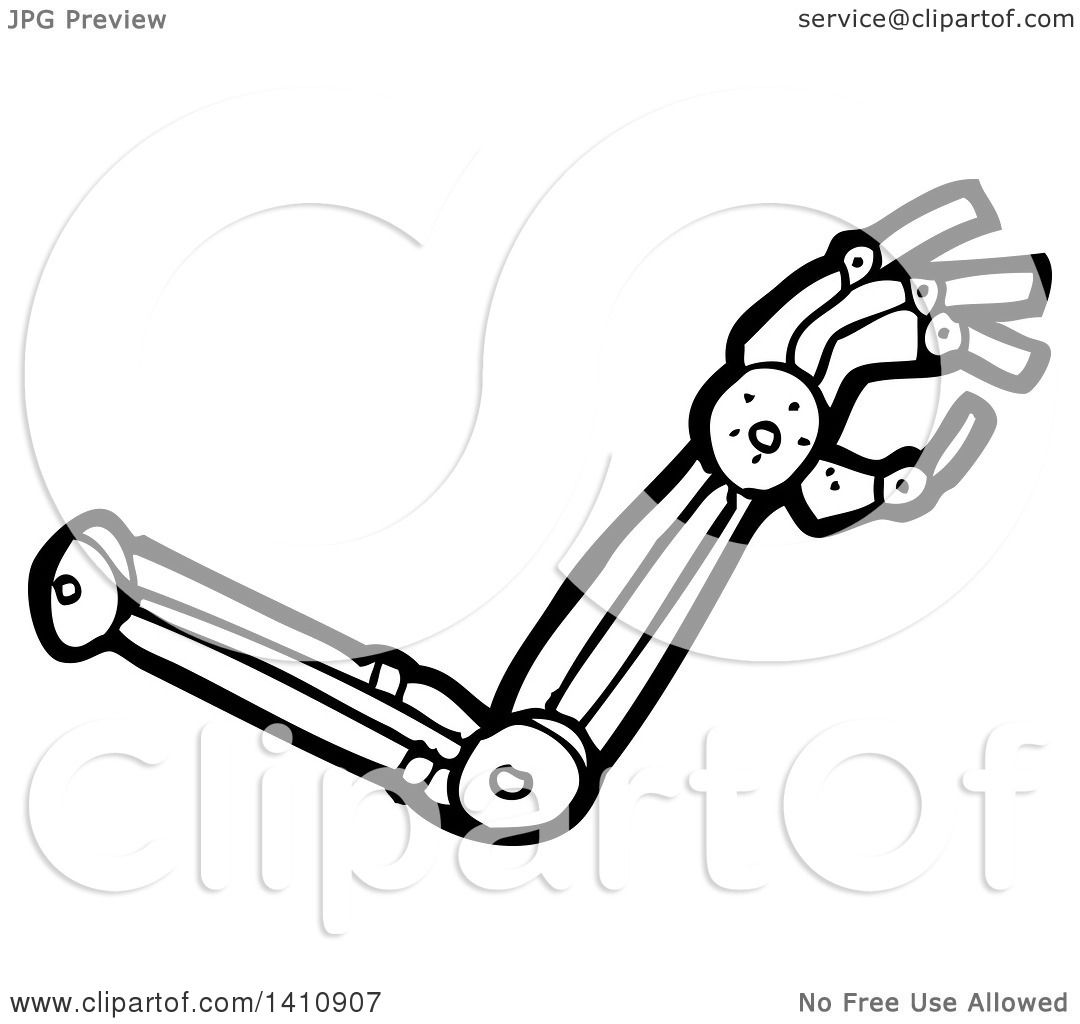 Clipart Of A Cartoon Black And White Lineart Robot Arm