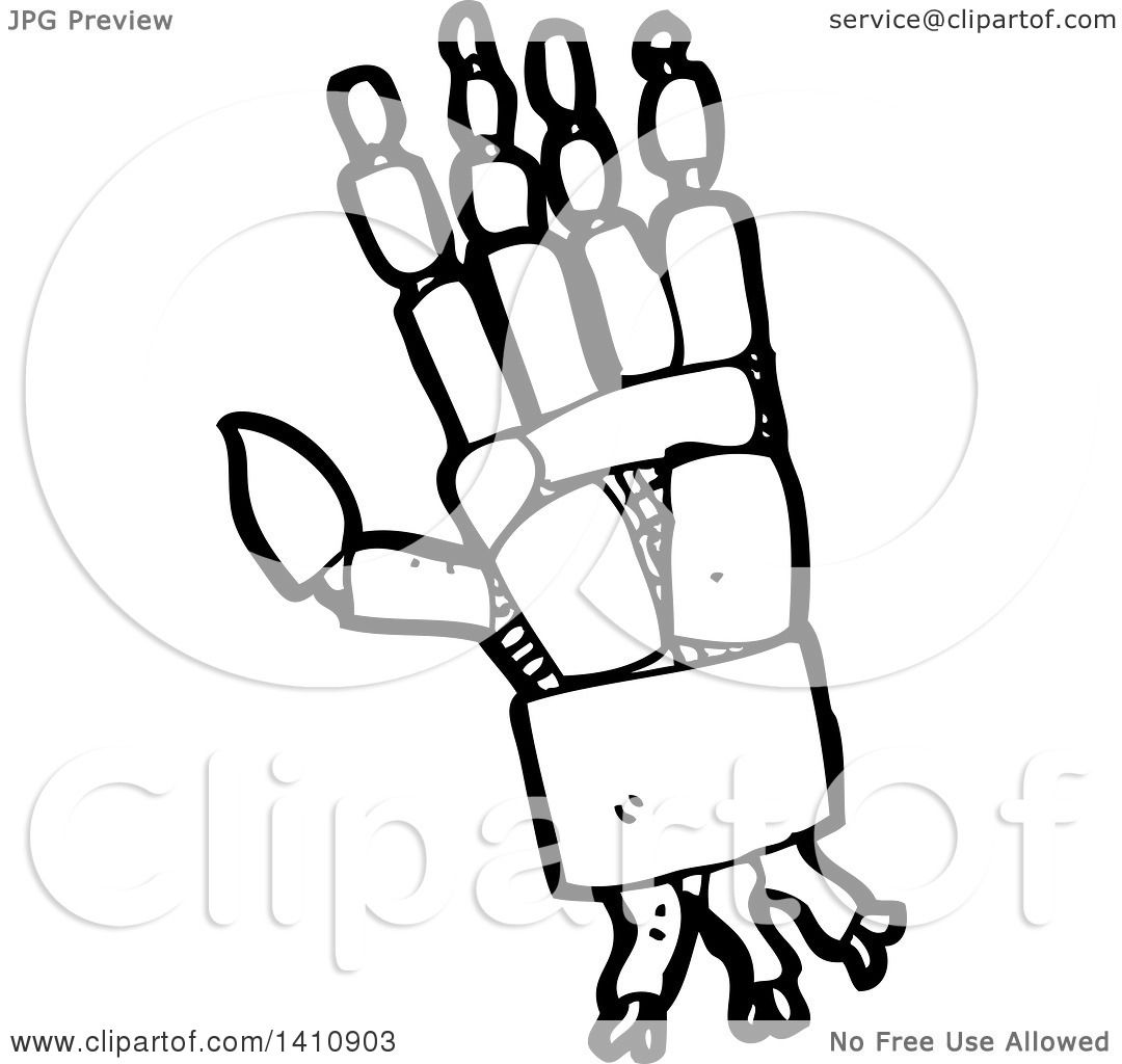 Clipart Of A Cartoon Black And White Lineart Robot Hand